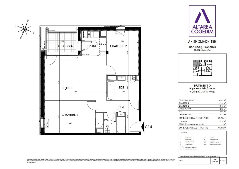 produit d'investissement appartement 3 pièces BLAGNAC 31700