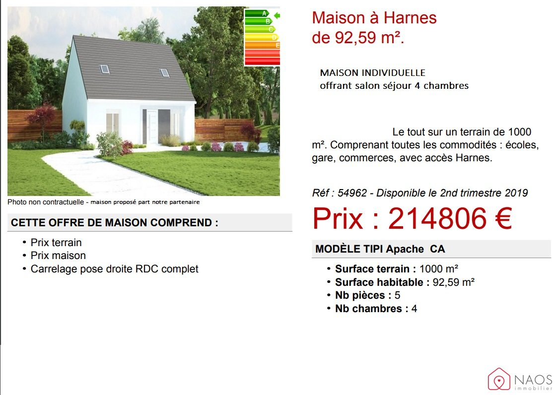 vente maison/villa 6 pièces HARNES 62440